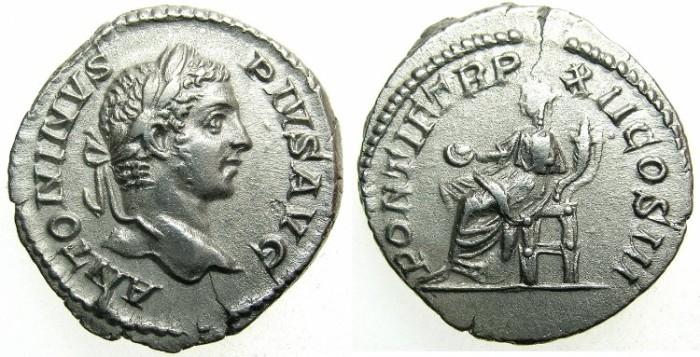 Ancient Coins - ROMAN.Caracalla Augustus AD 198-209.AR.Denarius AD 209.~~~CONCORDIA seated.