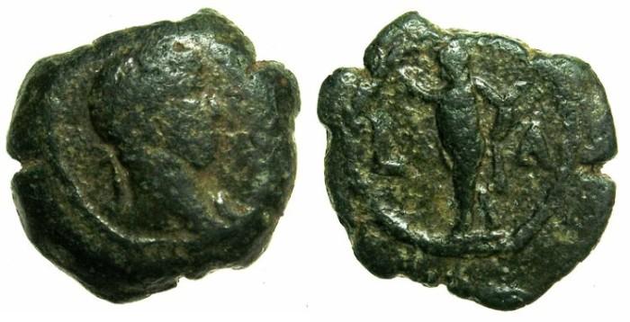 Ancient Coins - EGYPT.ALEXANDRIA.Hadrian AD 117-138.AE.Dichalkon, struck AD 126/127.~#~.Pan standing