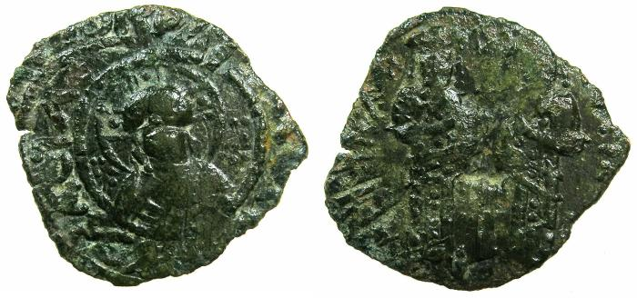 Ancient Coins - BYZANTINE EMPIRE.Andronicus II and Michael IX 1295-1320.AE.Assarion.Class II. Mint of Constantinople.