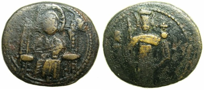 Ancient Coins - ITALY.SICILY.Roger II as count of Calabria and Sicily, Duke of Apulia AD 1127-1130..AE.Follaro.~~~Christ enthroned.
