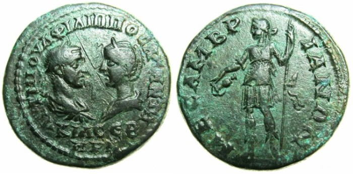 Ancient Coins - THRACE.MESEMBRIA.Philip I and Otacilia Severa AD 244-249.AE.26.~~~Dionysos standing left.