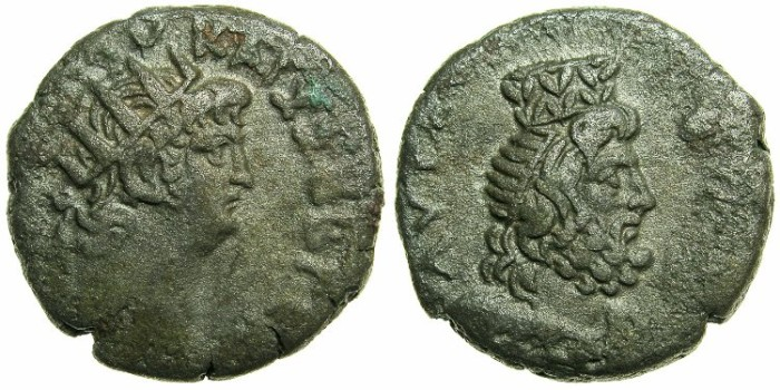 Ancient Coins - EGYPT.ALEXANDRIA.Nero AD 54-68.Bi.Tetradrachm.Struck AD 63/64.~#~Serapis wearing Modius.****Excellent portrait of Serapis*****