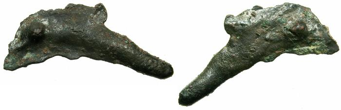 Ancient Coins - BLACK SEA.OLBIA.5th cent BC.Cast, AE.dolphin coinage.