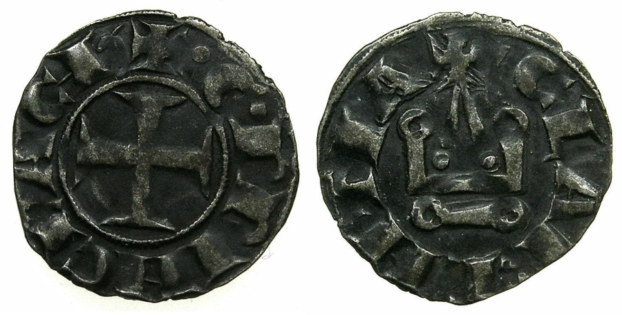 World Coins - CRUSADER.GREECE.Principality of ACHAIA.William II AD 1246-1278.Billon Denier.Mint of CORINTH.