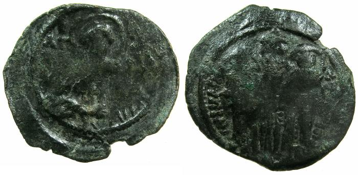 Ancient Coins - BYZANTINE EMPIPRE.Andronicus II and Michael IX AD 1294-1320.AE.Assarion Class XII..Mint of CONSTANTINOPLE.~~~Saint Andronicus.
