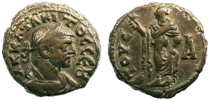 Ancient Coins - EGYPT ALEXANDRIA.Tacitus AD 275-276.Bi.Tetradrachma.Elpis