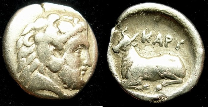 Ancient Coins - EUBOEA.KARYSTOS.4th to 3rd Cent BC.AR.Drachma.Bearded Herakles.Bull recumbent.