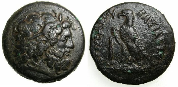 Ancient Coins - PHEONICIA.TYRE.Ptolemy IV Philopator 221-205 BC.AE.41.Zeus Ammon.Eagle