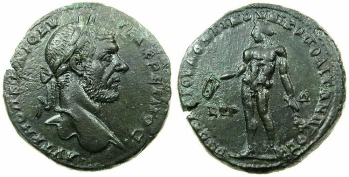Ancient Coins - MOESIA INFERIOR.NIKOPOLIS AD ISTRUM.Macrinus AD 217-218.AE.27.1mm.~#~.Nake Apollo holding patera and branch.