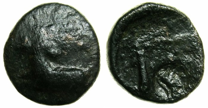 Ancient Coins - EGYPT.Pharonic.Nekanebo II 361/60 - 343 BC.AE.Tetaremorion?Mint of MEMPHIS?.~~~Ram.~#~Scales, countermarked with portrait of Parthian king?