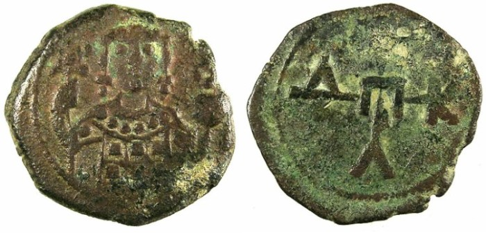 Ancient Coins - BYZANTINE EMPIRE.Manuel I AD 1143-1180.AE.1/2 Tetateron.Mint of THESSALONIKA.