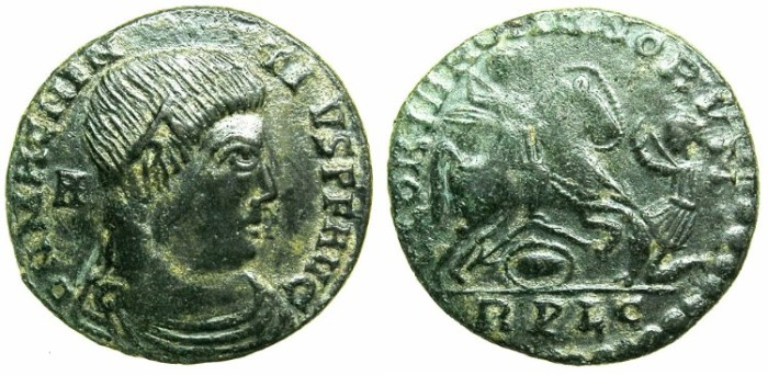 Ancient Coins - ROMAN.Magnentius AD 350-353.AE.Centenionalis.Contemporary copy after Mint of LYONS.Emperor riding down barbarian.