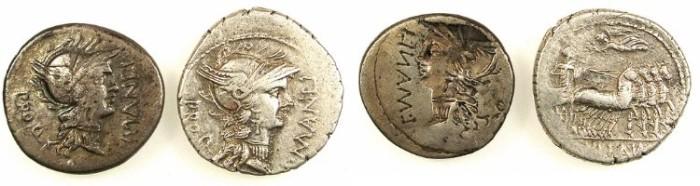 Ancient Coins - L. Cornelius Sulla & L. Manlius Torquatus (82 B.C.), AR.Obverse brockage Denarius and normal issue.