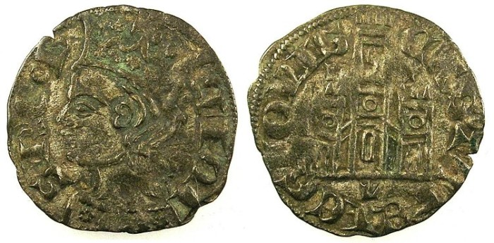 Ancient Coins - SPAIN.CASTILLE AND LEON.Alfonso XI AD 1312-1350.Bi.Denaro.Mint of Leon