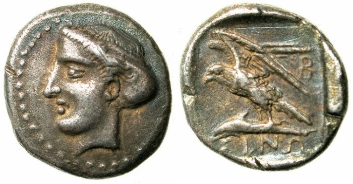 Ancient Coins - PAPHLAGONIA.SINOPE.Circa 410-350 BC.AR.Drachma.Head of Nymph.Eagle on Dolphin.