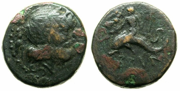 Ancient Coins - CALABRIA.BRUNDISIUM.Circa 245-217 BC.AE.Semis.Poseidon.Youth on dolphin