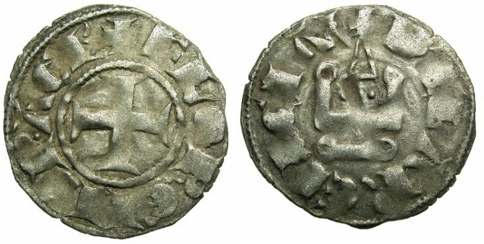 Ancient Coins - CRUSADER STATES.GREECE.Principality of ACHAIA.Florent of Hainault AD 1289-1297.Bi.Denier.Type F3.Mint of CLARENTZA.