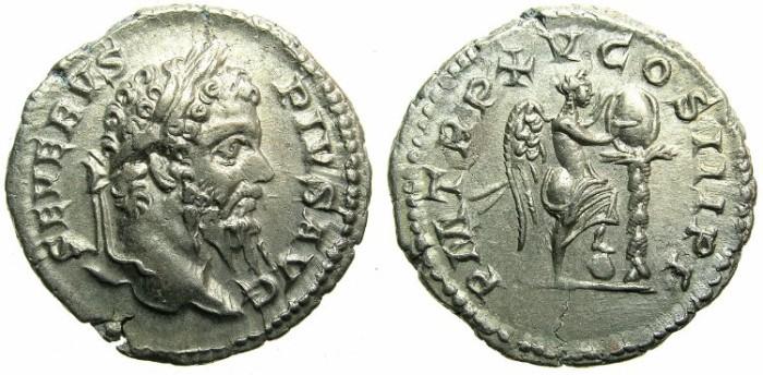 Ancient Coins - ROME.Septimius Severus AD 193-211.AR.Denarius AD 207.~~~ Victory inscribing shield.