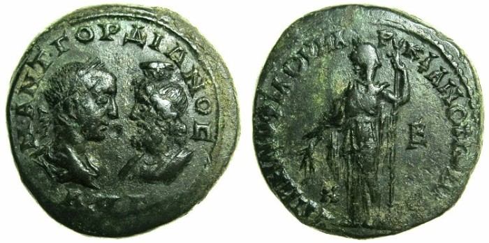 Ancient Coins - MOESIA INFERIOR.MARCIANOPOLIS.Gordian III and Serapis AD 238-244.AE.5 Assaria. ~#~.Demeter standing holding corn ears and sceptre.