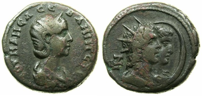 Ancient Coins - EGYPT.ALEXANDRIA.Julia Mamaea AD 223-235.Billon Tetradrachm, struck AD 227-228.~#~.Jugate busts of Helios and Selene.