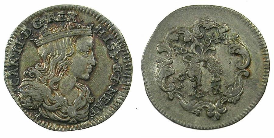 World Coins - ITALY.NAPLES.Charles II of Spain and Naples AD 1665-1700.AR.Carlino ( 10 Grana ).1694.