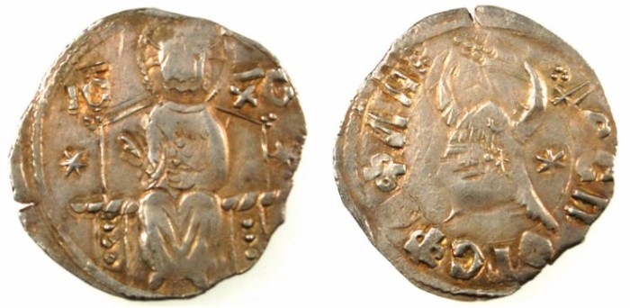 Ancient Coins - SERBIA.Stefan Lazarevic as despot AD 1402-1427.AR.Dinar.Christ.Helmet with horns