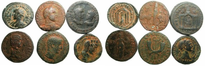 Ancient Coins - ROMAN COLONIAL.Group of Six copper coins.
