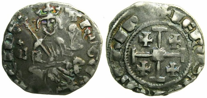 Ancient Coins - CRUSADER STATES.CYPRUS.Hugh IV AD 1324-1359.AR.Gros petit.~~~Cross above letter C left field.