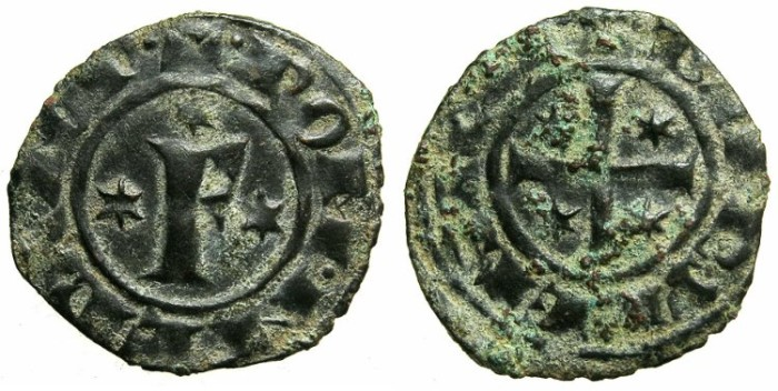 Ancient Coins - ITALY.SICILY.Frederick II AD 1197-1250, as Emperor AD 1220-1250.Billon Denaro, struck AD 1249 at BRINDISI.