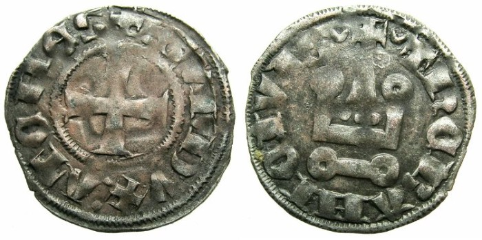 Ancient Coins - CRUSADER.Dukes of ATHENS.Guy II of la Roche AD 1287-1308.Bi.Denier.Type 1e.