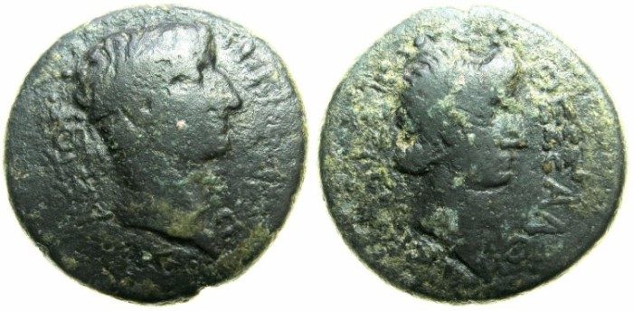 Ancient Coins - MACEDON.THESSALONIKA.Tiberius AD 14-37.AE.24mm.~#~Livia, mother of Tiberius.