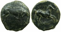 Ancient Coins - APULIA.ARPI.Circa 3rd cent.BC.AE.20.4mm.Charging bull.~#~.Horse prancing.