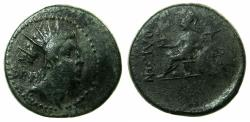 Ancient Coins - CILICIA.SOLOI-POMPEIOPOLIS.2nd -1st cent BC.AE.28.9mm.Radiate bust of Helios.~#~.Athena seated.
