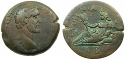 Ancient Coins - EGYPT.ALEXANDRIA.Antoninus Pius AD 138-161.AE.Drachma, struck AD 138/139.~#~.Euthenia, spouse of Nilus.