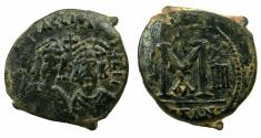 Ancient Coins - BYZANTINE EMPIRE.Revolt of The Heraclii AD 608-610.AE.Follis.Mint of ALEXANDRETTA.