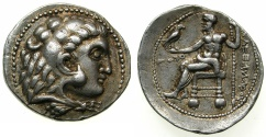 Ancient Coins - MACEDONIAN EMPIRE.Alexander III 336-323 BC.AR.Tetradrachm, dated issue struck 313/2 BC.Mint of Ake, Phoenicia.Attributed to Ptolemy I of Egypt 323-283 BC