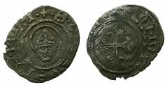 World Coins - ITALY.MILAN.2nd Republic AD 1447-1450.AE.Denaro. Head of Saint Ambrose.