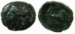 Ancient Coins - SICILY.SYRACUSE.Hiketas II 288-279 BC.AE.24.6mm.~~~Persephone.~#~Nike driving Biga.