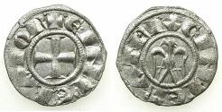 World Coins - SICILY.MESSINA OR PALERMO.Henry VI and Constance AD 1194-1197.Billon Denaro. Type 4