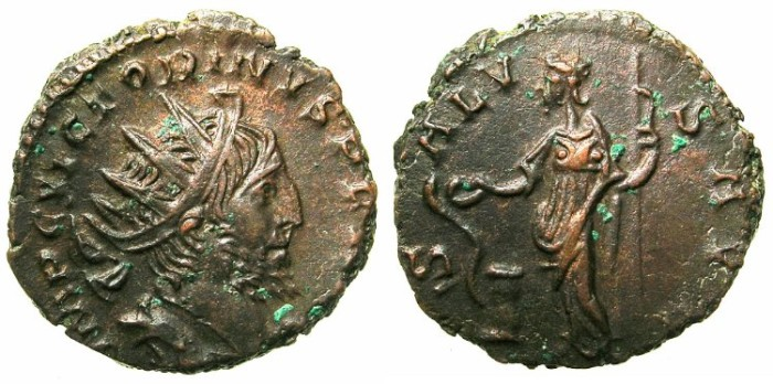 Ancient Coins - ROMAN.GALIC EMPIRE.Victorinus AD 268-270.Billon Antoninianus, Southern mint.~#~.Salus feeding snake.