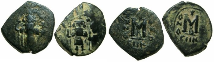 Ancient Coins - PSEUDO-BYZANTINE.7th cent AD.after Heraclius or Constans II.AE.Fals ( Follis ).Reverse die match.