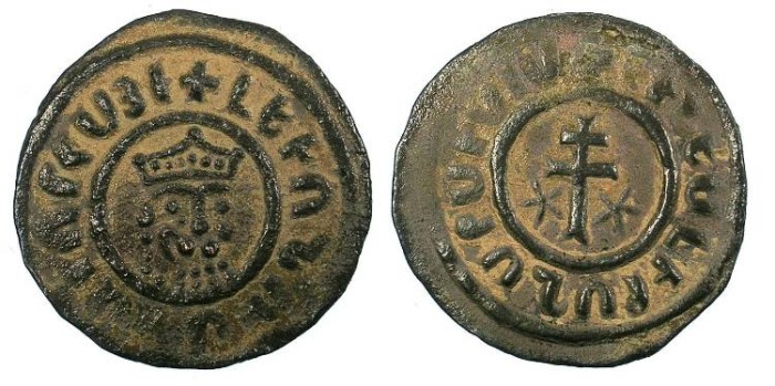 Ancient Coins - ARMENIA.Levon I AD 1198-1219.AE.Tank ( 29mm ) Leone head Rev.Cross.