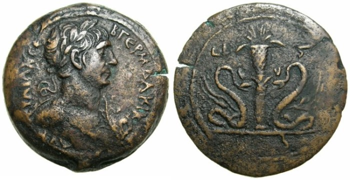 Ancient Coins - EGYPT.ALEXANDRIA.Trajan AD 98-117.AE.Drachma, struck AD 112/113.~#~Modius on column flanked by winged serpents.***** High grade, thus RARE *****