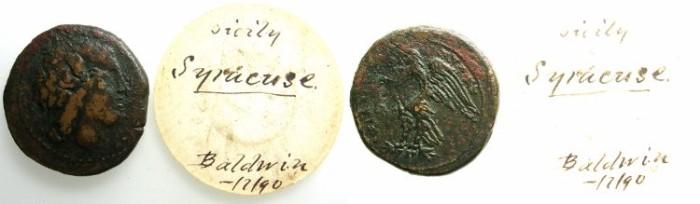Ancient Coins - SICILY.SYRACUSE.Hiketas II 287-278 BC.AE.25.~~~Zeus Hellanios.~#~.Eagle.