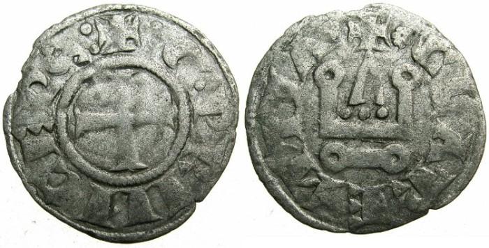 Ancient Coins - CRUSADER.GREECE.ACHAIA.William of Villehardouin AD 1246-1278.Billon Denier.Group I.Type GV 131.