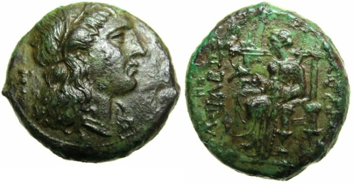 Ancient Coins - SICILY.SYRACUSE.Pyrrhos 278-276 BC.AE.~~~Head of KORE~~~DEMETER seated.