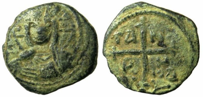 Ancient Coins - CRUSADER.ANTIOCH.Tancred AD 1104-1112.AE.Follis.4th type.Facing bust of Christ.