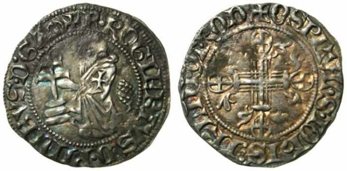 Ancient Coins - CRUSADER STATES.RHODES.Roger de Pins 1355-1365.AR.Asper (Half Gigliato).Pine cone behind grandmaster.