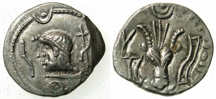 Ancient Coins -   ARABIA FELIX.Himyarites.Anonymous 1st cent BC.AR.Denarius.Head left / Bucranium