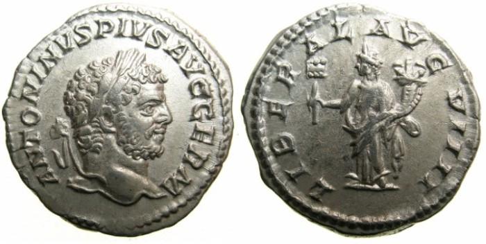 Ancient Coins - ROMAN.Caracalla Sole Emperor AD 212-217.AR.Denarius undated 213-217.~~~Liberaritas standing.